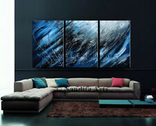 Abstract Three Piece Blue Wall Art Wall Hanging Large Painting on Canvas Artwork