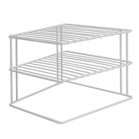 2 Tier Space Saving Cupboard Corner Shelf | Kitchen Rack Storage Organiser | M&W