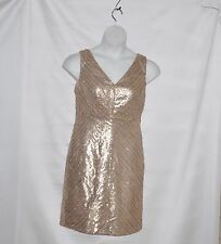 Fully Lined Sleeveless Dress With Sequin Size S Gold