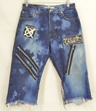 Levi 505 jeans men 30 punk destroyed remade cut off zippers Casualties faded