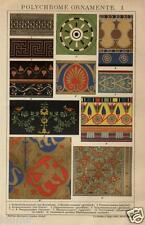 1892= ORNAMENTI POLICROMI = Antica Stampa CROMOLITOGRAFIA