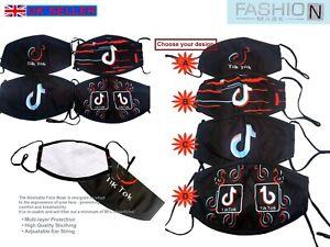 TikTok Print Adult Fashion Face Mask Mouth Protection Washable Reusable Unisex