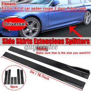 """2m Glossy Black Universal Car Side Skirt Spoiler Splitter Lip Anti-scratch 78.7"""""""