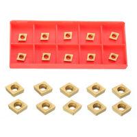 10Pcs Box Gold CCMT060204 US735 CCMT21.51 Coated Carbide Cutter Inserts Tools