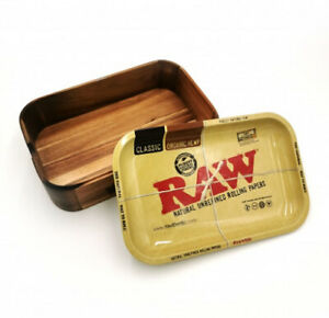 RAW Wooden Cache Storage Box with Rolling Tray Lid - LIMITED EDITION