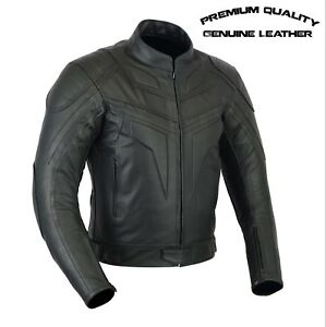 Men's Premium Quality CE Armored Motorcycle Motorbike Cowhide Leather Jacket