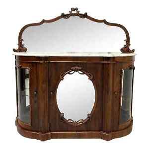 Antique Circa 1850 Victorian Rococo Revival Rosewood Marble Top Credenza