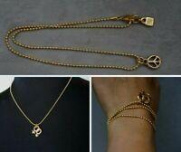 """NEW Uno De 50 Unisex Gold PEACE Pendant Ball Chain Necklace 3 Wrap Bracelet 20"""""""