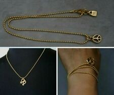 NEW Uno De 50 Unisex Gold PEACE Pendant Ball Chain Necklace 3 Wrap Bracelet 20""