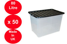 50 x 80 LITRE PLASTIC STORAGE BOX STRONG BOX USEFUL BLACK LID EXTRA LARGE X 50!!