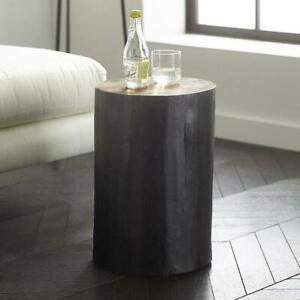 BLACK PAINTED TREE TRUNK SIDE TABLE, STALL LAMP TABLE....