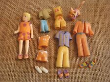 """Polly Pocket Boy Doll Lot """"Colors of the Rainbow"""" Orange Outfits with a Pet! F9"""
