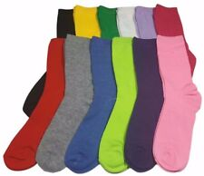 12 Pairs Women's Socks Cotton Crew Ladies Assorted Colors Dozen Pack Size 9-11