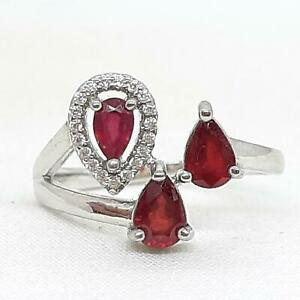 World Class 1.75ctw Mozambique Ruby & Diamond Cut White Sapphire 925 Silver Ring