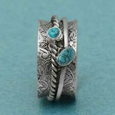 Turquoise Ring 925 Sterling Silver Spinner Ring Meditation Ring Statement Ring