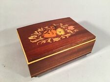 Vintage Reuge Music Box Inlay Flowers Made in Italy