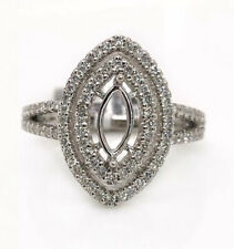 0.52Ct Diamond Semi Mount Double Halo Ring 14k White Gold Marquise Center 8*4mm