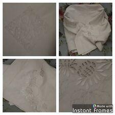 Drap Ancien En Lin Et Coton Linge Blanc De Maison Lit Brodé Monogramme P R