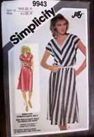SIMPLICITY sewing pattern no.9943 Ladies DRESS size 14  Vintage UNOPENED