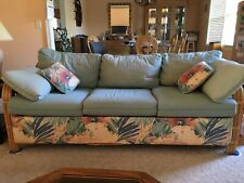 Queen Sleeper Sofa & Matching Love Seat With Unique Rattan Frames LOCAL PICKUP
