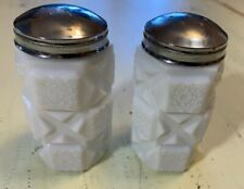 VINTAGE & HEAVY MILK GLASS HOBNAIL SALT & PEPPER SHAKERS