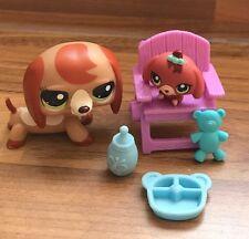 Littlest Pet Shop Mummy & Baby Dachshund Playset Figures Bundle Accessory