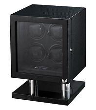 Volta Quad 4 Watch Winder Box Carbon Fiber w/ LCD Lighting Lock & Key 31-560040