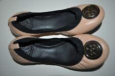 NEW $225+ Tory Burch CAROLINE Nude W Black Trim Leather Ballet Flat Shoes Sz 6