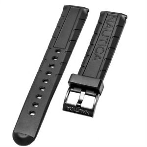 Nautica Men's N17618G A17618 NMX 601 Black PU-Rubber 22mm Watch band