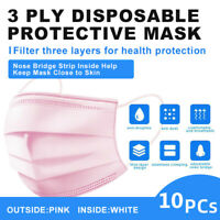 [Pink]10 Pcs Face Mask Disposable Non Medical Surgical 3-Ply Earloop Mouth Cover