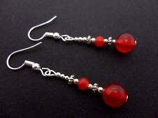 A PAIR TIBETAN SILVER RED JADE  BEAD  DANGLY EARRINGS. NEW.