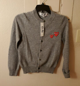 New! Comme Des Garcons Play Double Heart Wool Cardigan Gray Womens XS MSRP $380
