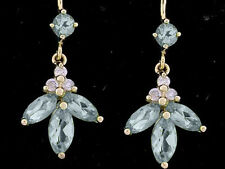 E084- Genuine 9ct Solid Yellow Gold Natural Diamond & Topaz Drop Dangle Earrings