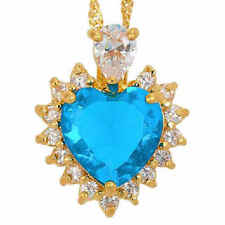 "New 18"" Yellow Gold Heart Cut Blue Aquamarine & White Topaz Accents 18kgp"