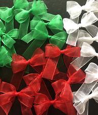 21 Small 3.5cm Red, Green &White Organza Ribbon Bows/ Christmas/Crafts