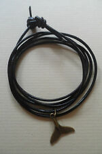 Black Leather Surf Wrap Bracelet /Anklet Wristband Cuff Bronze Whale Tail