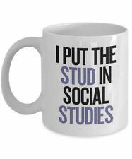 I Put The Stud In Social Studies Funny Coffee Mug History Teacher Gift