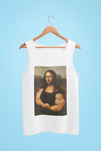 FUNNY GYM TANK TOP VEST SINGLES MONA LISA MUSCLES RIPPED