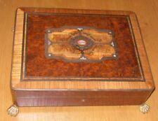 19th Century Walnut, Ebony & Mother of Pearl Inlaid Box on Gilt Clawed Feet