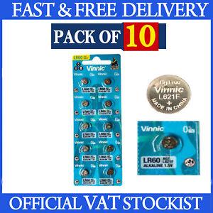 10 x Vinnic 364 LR60 Watch Battery AG1 L621F 1.5v Batteries LR60 164 621 LR60
