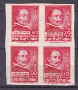 ESPAÑA - 1937 - Edifil 726s - Gregorio Fernandez - Bloque 4 - Sin Dentar - MNH