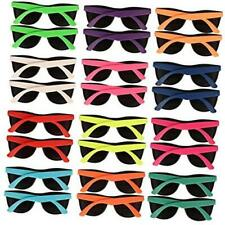 24 Pack 12 Colors Neon Party Sunglasses 80's Style With Dark Lens for Party