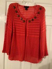🌸 Ladies Moonlight Bay Tangerine Open Weave  X-Large Cardigan 🌸