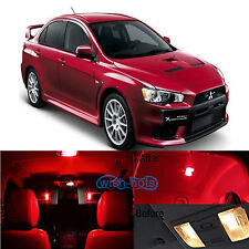 6Pcs Red LED Lights Interior Package Conversion Kit for Lancer Evo X +Free Tool