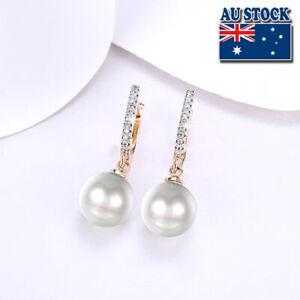 Elegant Womens 18K Gold Filled Classic Style Pearl Hoop Huggie Drop Earrings