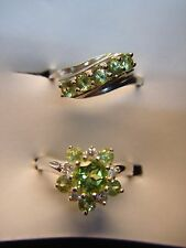 STERLING SILVER RING GROUP OF TWO WITH GREEN STONES & CZ's