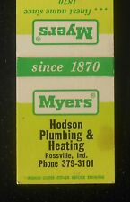 1960s Myers Pumps Hodson Plumbing & Heating Rossville In Clinton Co Matchbook