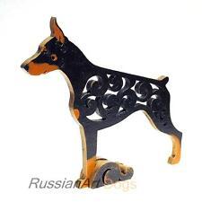 Dobermann dog figurine, doberman statue made of wood
