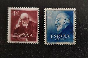4 Sellos de ESPAÑA año 1952. RAMON y CAJAL y FERRAN. Edifil1119/1120