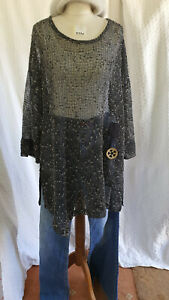 Neslay Black Net Top + White Flecks Fits All Wide Long Sleeves See Through 370